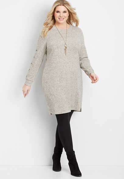 plus size button sleeve sweater dress