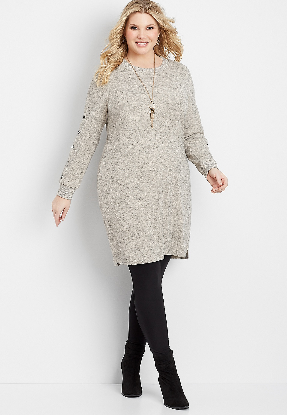 plus size button sleeve sweater dress | maurices