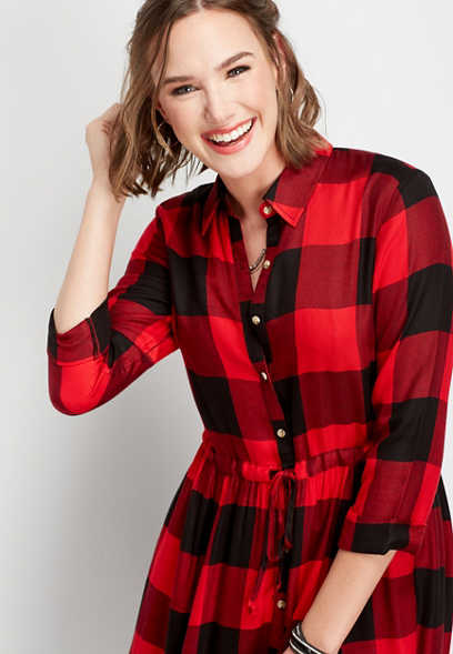 buffalo plaid print shirtdress