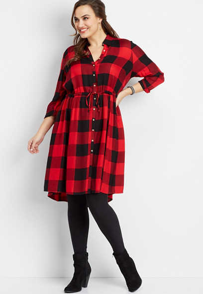 plus size buffalo plaid print shirtdress