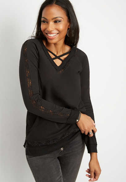 cross front lace piece pullover