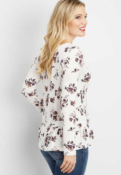 floral long sleeve peplum tee