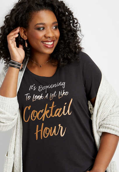 plus size cocktail hour graphic tee