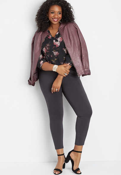 plus size floral button side blouse