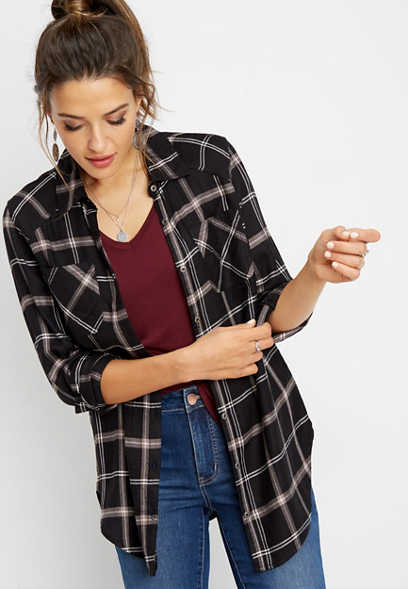 plaid split back tunic button down shirt