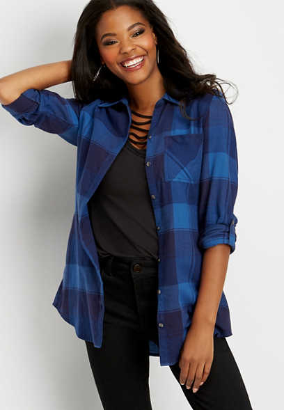 single pocket plaid button down tunic shirt