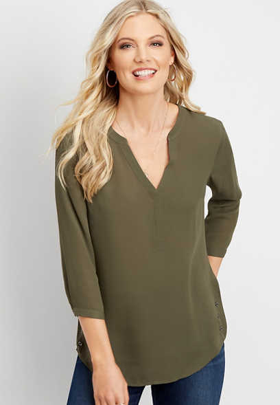 solid v-neck button side blouse