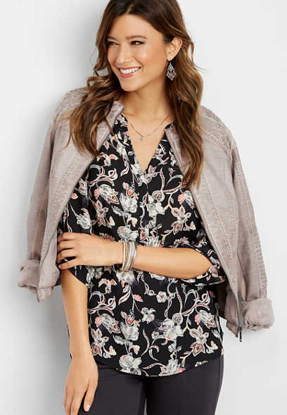 paisley button down v-neck blouse