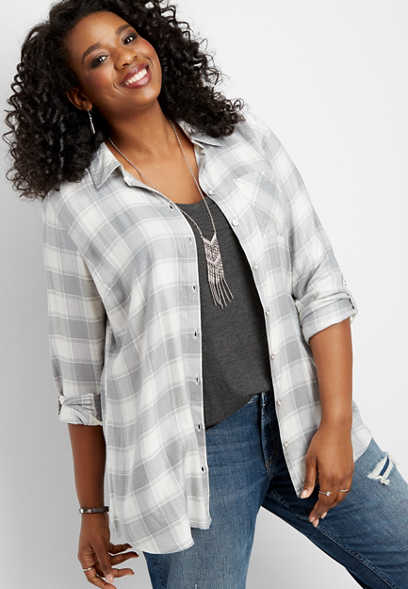 plus size plaid button down tunic shirt