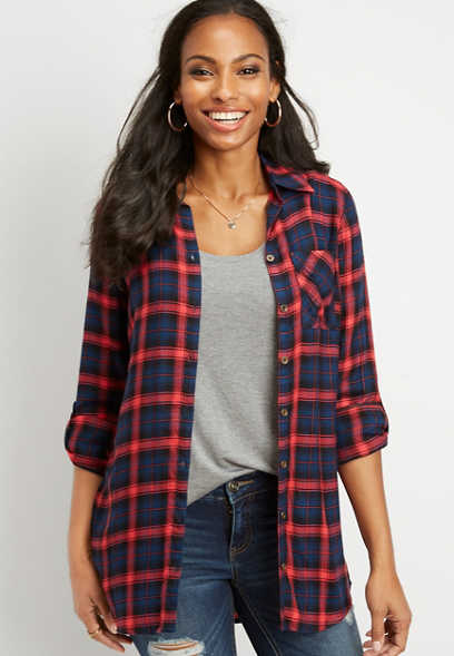 plaid single pocket button down shirt
