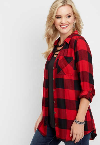 plaid button down tunic top