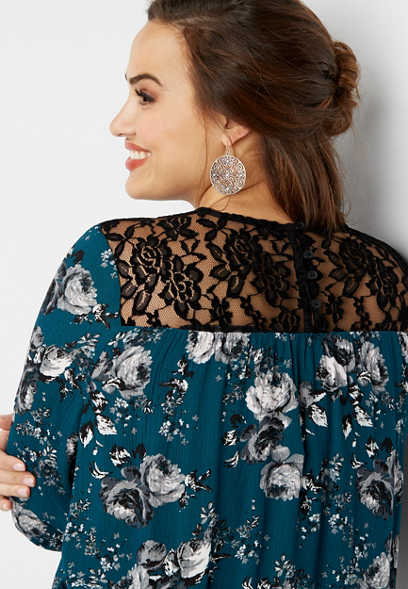plus size velvet yoke floral top