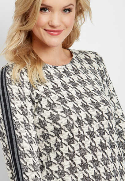 houndstooth print tunic pullover