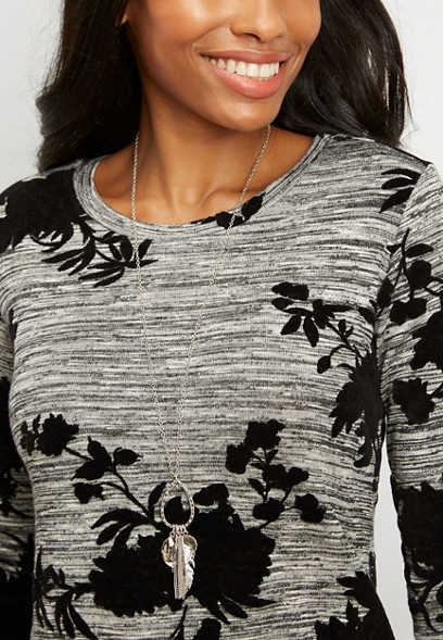 floral velvet long sleeve tunic tee