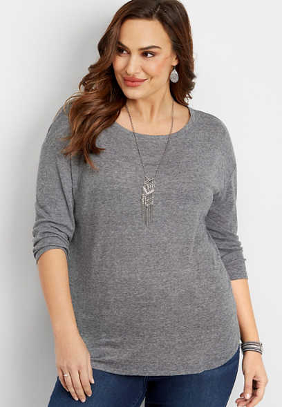 plus size 24/7 solid long sleeve tee