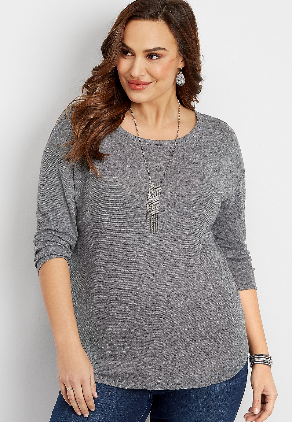 plus size 24 7 solid long sleeve tee  f67669575