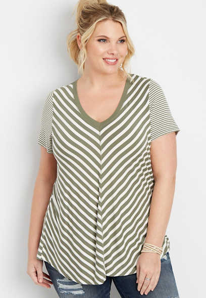 plus size 24/7 striped v-neck tee
