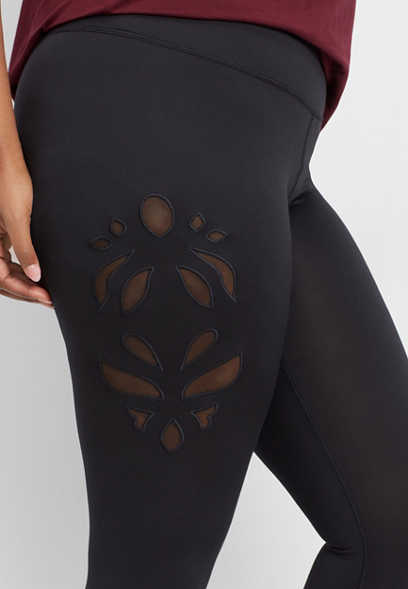 plus size mesh cutout 7/8 active legging