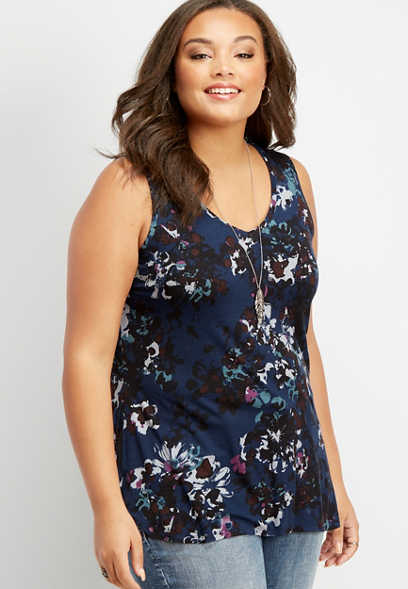 plus size 24/7 floral v-neck tank