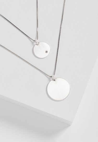 two row silvertone disc necklace