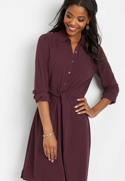 twist front shirt dress