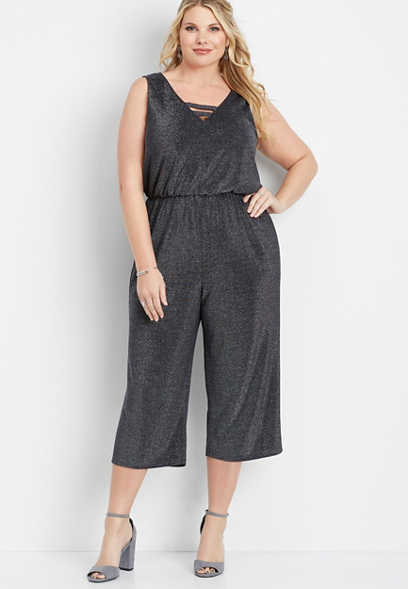 plus size v-neck shimmer jumpsuit