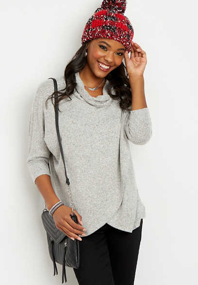 cowl neck tunic wrap pullover