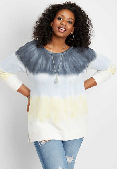 plus size tie dye basic pullover