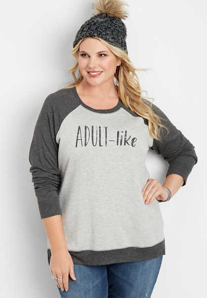 plus size adult-like graphic pullover