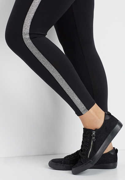 plus size metallic side stripe 7/8 active legging