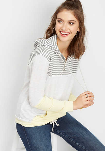 stripe colorblock hooded pullover