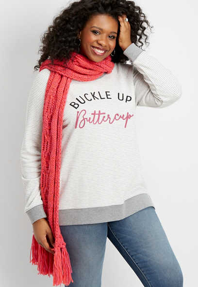 plus size buckle up buttercup graphic pullover