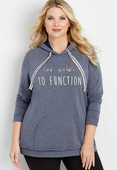 plus size too cold to function graphic pullover
