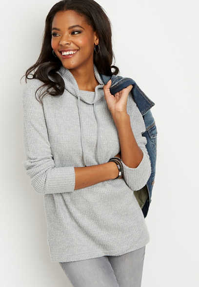 thermal cowl neck pullover