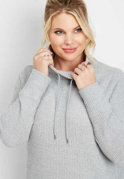plus size thermal cowl neck pullover