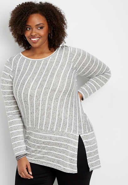 plus size 24/7 asymmetrical stripe tunic tee