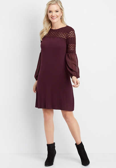 long sleeve crocheted top dress