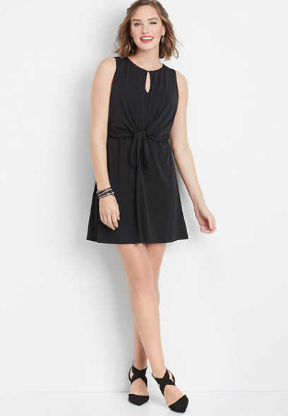 solid tie front dress