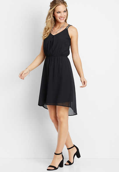beaded strap high-low dress