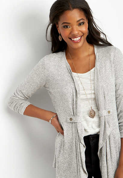 open front tab cardigan