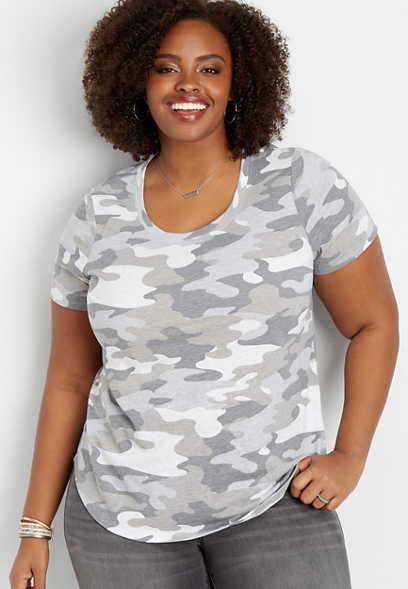 plus size 24/7 scoop neck camo tee