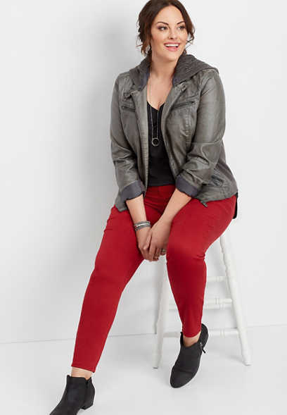 plus size DenimFlex™ rebel red color jegging