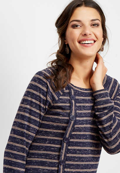 stripe button front asymmetrical top