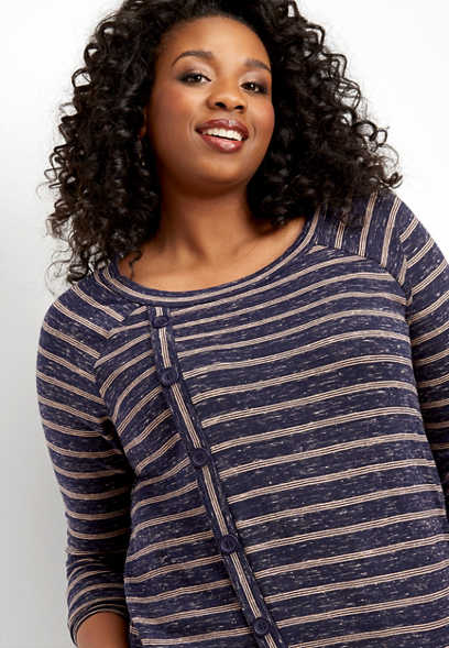 plus size stripe button front asymmetrical top