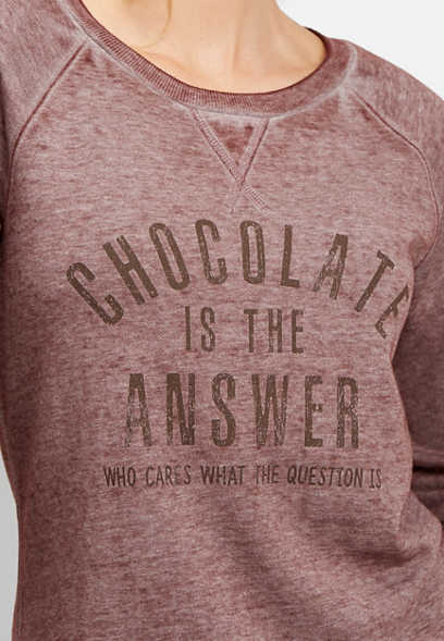 chocolate is the answer graphic pullover