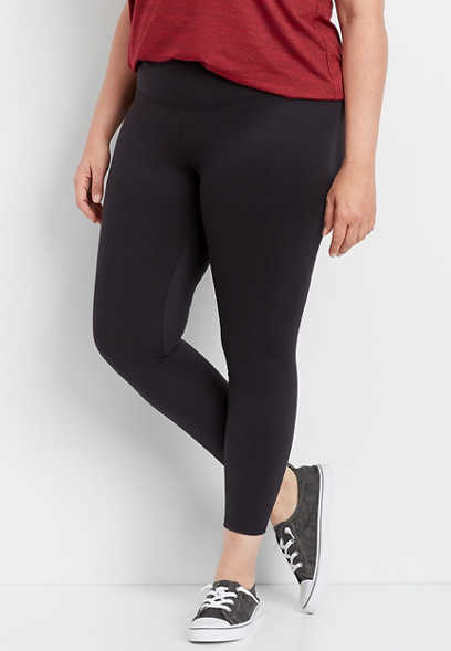 plus size mid rise black 7/8 active legging