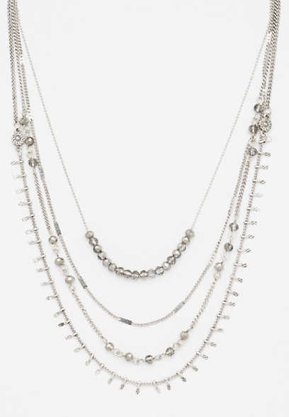 silvertone drape layered necklace