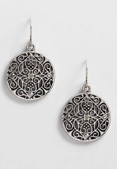 medallion stone drop earring