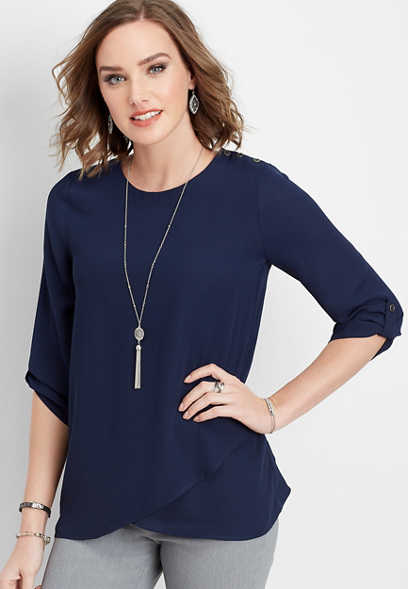 solid button sleeve blouse