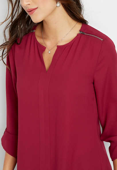 solid zip shoulder tunic blouse